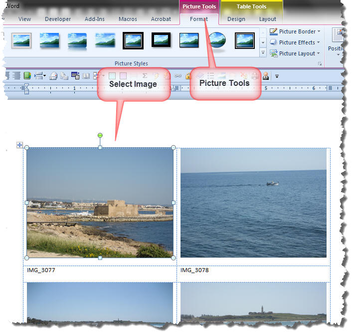 microsoft word photo album template